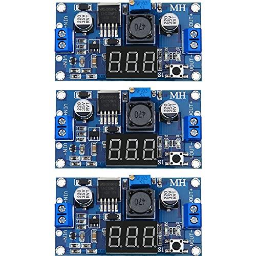 Convertidor Reductor Ajustable DC-DC LM2596S Regulador de Voltaje Reducido Módulo de Alimentación 36V 24V 12V a 5V 2A Estabilizador de Voltaje con Pantalla de Voltímetro Digital (3 Piezas)