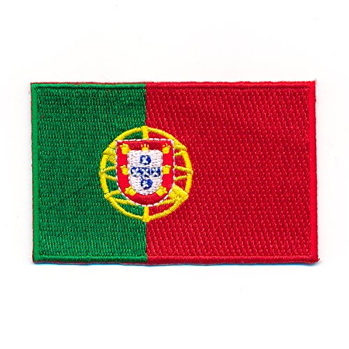 hegibaer 40 x 25 mm Portugal Flagge Lissabon Madeira Flag Patch Aufnäher Aufbügler 0996 A