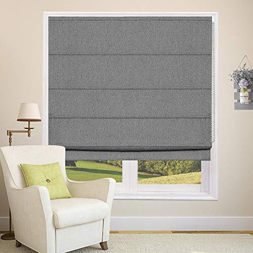 Roman Shades Blackout Window Shades, Dark Grey Roman Blinds Washable Blackout Lining Fabric for Windows, Doors, French Doors, Kitchen Windows