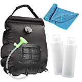 n c Solar Camping Shower Bag,5 gallons/20L,Portable Shower Bag with Heating Design Removable Hose and switchable Shower Head for Camping Hiking Beach Outdoor Indoor Activity-Black