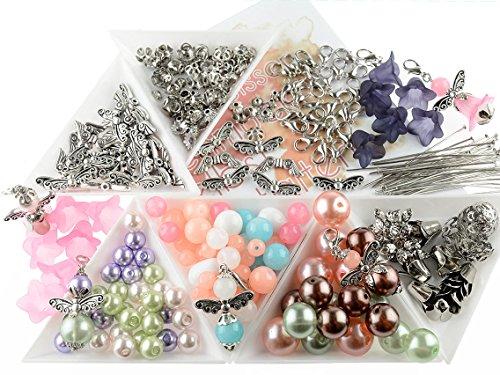 Vintageparts DIY - Set für 30 Perlenengel Schutzengel in silberfarben als Gastgeschenk für Hochzeit Taufe Konfirmation oder Geburtstag