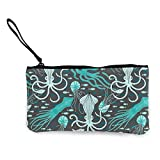 TTmom Carteras de Mujer,Monedero, Tangled Turquoise Pattern Canvas Change Coin Purse Assorted Money Bag with Zipper