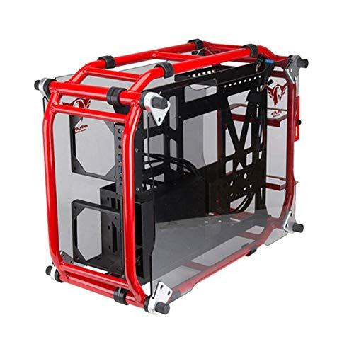 Caja De La PC ATX Ordenador del Juego, La Caja Fuerte Mesa De Escritorio Jugador Vertical Caja De Agua De Refrigeración De La CPU Drive Bay Placa Transparente,Rojo