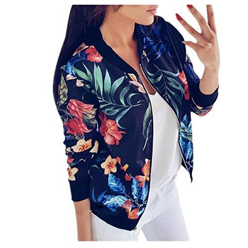 N\P Mujeres Chaqueta Señoras Flores Impresión Manga Larga Tops Cremallera Chaqueta Outwear Suelta Tops Streetwear