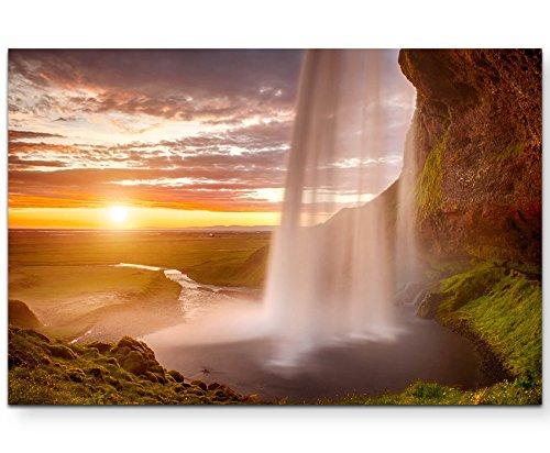 Paul Sinus Art Leinwandbilder | Bilder Leinwand 120x80cm Traumhafter Sonnenaufgang mit Wasserfall – Island