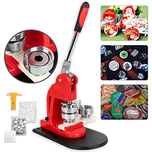 Fantastic Deal! Button Maker 44MM 1.73Inch Button Badge Maker Pins Punch Press Machine DIY with Free 500 PCS Button Parts and Circle Cutter