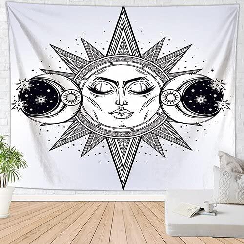 Sun Moon Hippie Tapiz de pared Brujería Decoración bohemia Alfombra de pared Decoración gótica del hogar Paño de pared de dormitorio A5 73x95cm