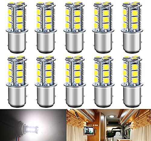 DEFVNSY -Pack de 10-Ampoules LED 1157 BAY15D 2057 2357 Blanc 6000K 5050 18SMD Lumières à baïonnette à Double Contact pour éclairage de remorque de camping-car intérieur Lumières de bateau 12V