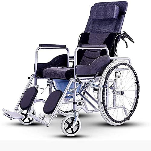 Sillas ruedas Silla ruedas deportiva plegable,silla ruedas viaje plegable para todo terreno,liviana,acolchada,colores originales,con reposabrazos silla ruedas portátil lujo Black,Aluminum alloy
