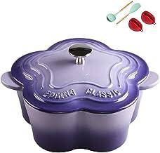 Flower Cast Iron Enamel Dutch Oven/Casserole Dish 22cm Thick Multicolor Casserole