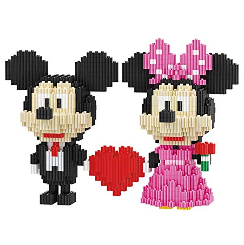 BAIDEFENG Mikro Ziegel Mickey Minnie Maus Liebe Herz Modellbau Set Mini Ziegel DIY Mini Blöcke Nano Baustein Kinder Gebäude Spielzeug Geschenk