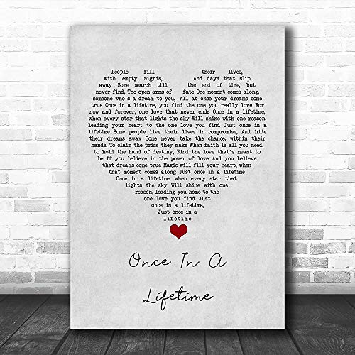 WisdomCourage #Michael #Bolton #Once in A Lifetime Grey Heart Song Lyric Quote Music Print Print Wall Decor Art Gifts Lovers Poster