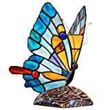 9'H Tiffany Stained Glass Flying Butterfly Accent Lamp