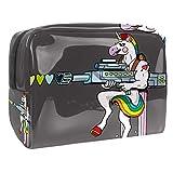 Bolsa de maquillaje portátil con cremallera bolsa de aseo de viaje para mujer, práctica bolsa de almacenamiento cosmética unicornio y pistola