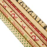 Juvale Christmas Kraft Wrapping Paper (2.5 x 10 ft, 6-Pack)