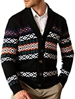 PJ PAUL JONES Men's Cardigan Sweaters Shawl Collar Button Fair Isle Knitted Sweater