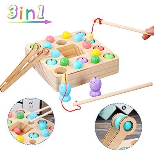 O-Kinee Holzspielzeug Angelspiel, 3 In 1 Montessori Lernspielzeug Fische Puzzle Angelspiel Magnetisch Holz Pädagogisches Spielzeug Geschenk mit Angelrute Fischspiel für Vorschulgeschenk Mädchen Jungs