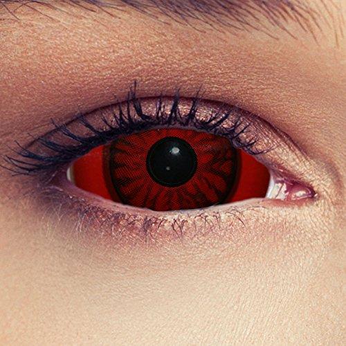 "Designlenses, Dos Sclera lentillas de color rojo para Halloween 22mm demonio lentillas de seis meses sin dioprtías/corregir + gratis caso de lente ""Baal"