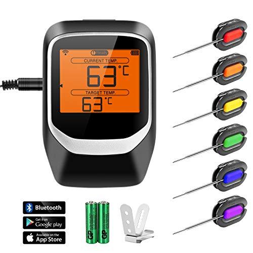 Fitfirst Grillthermometer, Bluetooth BBQ Thermometer Haushaltsthermometer Ofenthermometer LCD Display Magnetisches Design Unterstützt IOS, Android mit 6 Sonden für Küche, Grill, Smoker, Backen usw.