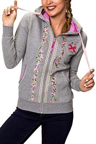 Hachiro Damen Sweatjacke Hoodie Sweatshirt Pullover (S, Light Grey Melange)