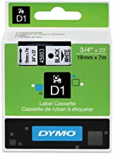 DYMO 45803 D1 High-Performance Polyester Removable Label Tape, 3/4-Inch x 23 ft, Black on White