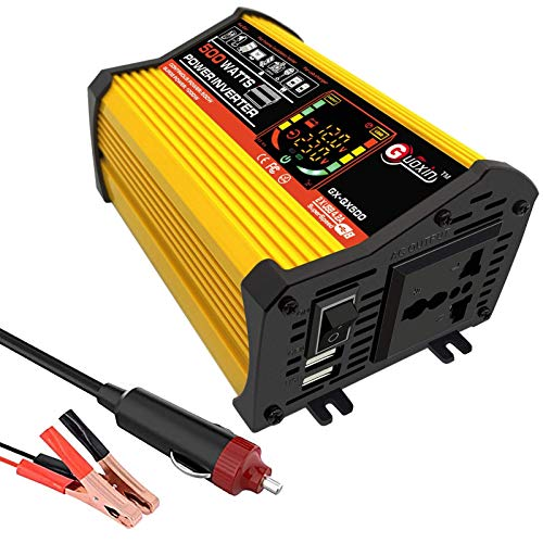XHNXHN Inversor de onda sinusoidal pura de 500 W DC 12 V a AC 220-240 V inversor de coche, enchufe internacional y 2.1 A USB, con pantalla LCD de potencia máxima 1000 vatios