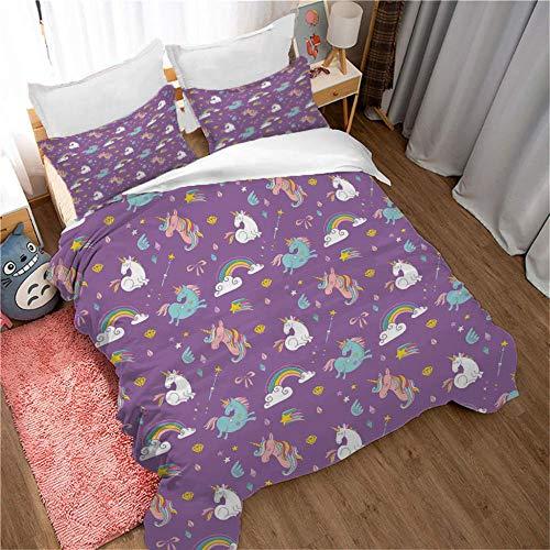 GenericBrands Bedding Bed Set Rainbow and horse 3 Pieces Bedding Set Microfiber Quilt Cover(1 Duvet Cover + 2 Pillowcases) Hidden zipper-220x240cm