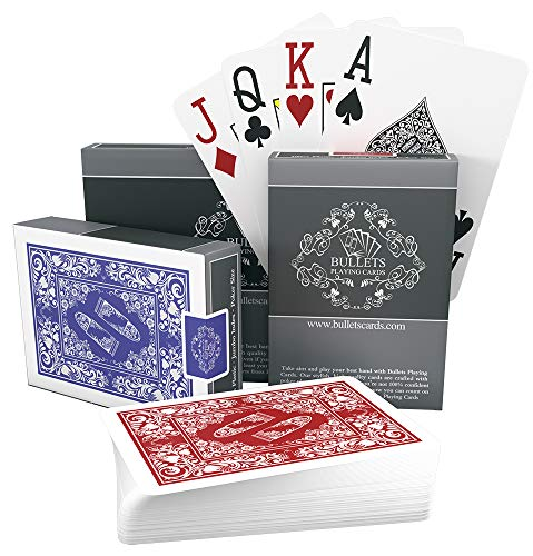 Bullets Playing Cards Carte Poker Professionali Plastificate impermeabili Pacco Doppio Quatto Segni Sugli Angoli – Carte Jumbo Index Deluxe – Carte Texas Holdem Professionali Premium