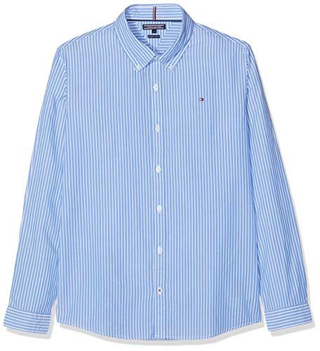 Tommy Hilfiger Jungen Boys Stripe L/S Hemd, Blau (Shirt Blue 474), 152 (Herstellergröße: 12)