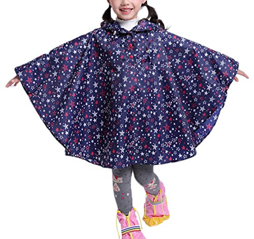 Comfysail Kinder Mädchen Stern Regenmantel Regenponcho Regenjacke mit Kapuze Wasserdicht Regencape Softshelljacke, Blaue Sterne, L:125-140cm