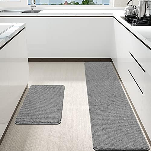 Color&Geometry küchenläufer 44x75cm+44x150cm, küchenteppich waschbar rutschfest, komfortabel Maschinenwäsche leicht zu reinigen küchenmatte in Küchen Eingang Außenbereich küchenteppich läufer(Grau)