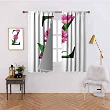 Abeocg Small Window Curtain Purple Zinnia Petals Stems Leaves and Letter Z Nature Inspired Alphabet Thermal Insulated Blackout Curtains W120 x L72 Inch