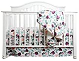 Boho Coral Floral Ruffle Skirt Baby Minky Blanket Peach Floral Nursery Crib Skirt Set Baby Girl Crib Bedding Feather Blanket (Pink Wine Floral, 3pc Set)