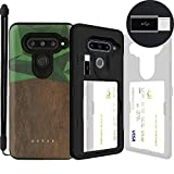 LG V40 ThinQ, SKINU [LG V40 Wallet] V40 Charger Dual Layer Hidden Credit Holder ID Slot Card Case with Wrist Strap Inner USB Type C Adapter and Mirror for LG V40 ThinQ V40+ ThinQ (2018) - Wood