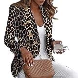 happyhouse009 Chaqueta de manga larga para mujer, estampado de leopardo, con botones de solapa, entallada, para chaqueta, color negro, L