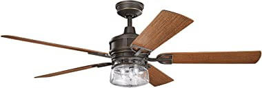 """Kichler 310140OZ, Lyndon Patio Olde Bronze 60"""" Outdoor Ceiling Fan with Light & Wall Control"""