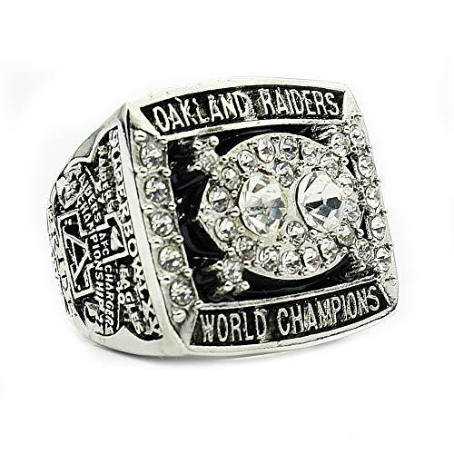 Fei Fei 1980 Oakland Raiders Championship Ring Anillos de Hombre, Championship Anillo de réplica Personalizado Anillos de Diamantes para Hombres,with Box,11