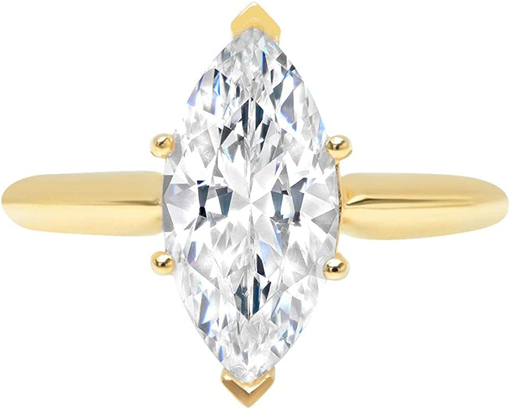 2.50 ct Marquise Cut Solitaire Genuine Lab Created White Sapphire 6-Prong Engagement Wedding Bridal Promise Ring Solid 14k Yellow Gold for Women