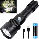 Powerful LED Flashlights Rechargeable High Lumens, 10000 Lumens Super Bright XHP70.2 Tactical Flashlights, 5 Modes IPX6 Waterproof Flashlight for Camping Hiking Emergency Outdoors (with 26650 Battery)