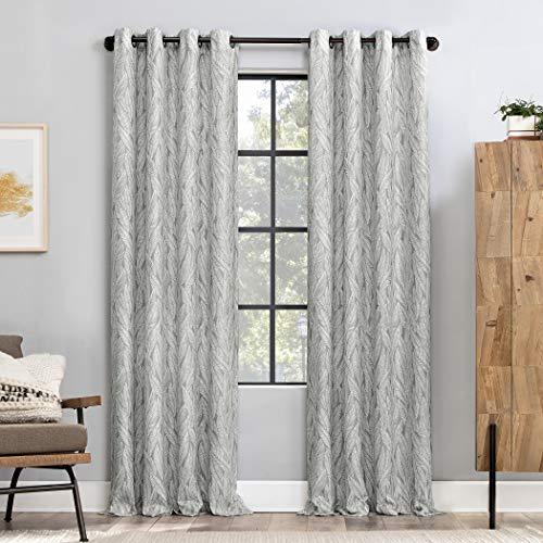 "Scott Living Celina Organic Leaf Semi-Sheer Grommet Curtain Panel, 50"" x 96"", Gray"