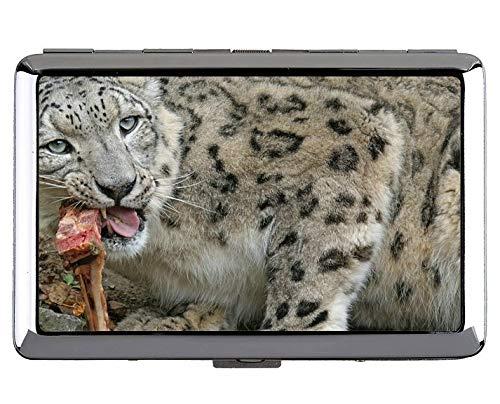 Silver Metal Cigarette Case,Snow Leopard Leopard Metal Pocket Business Card Case
