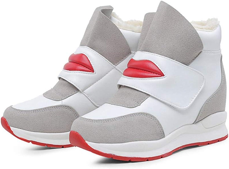 U-MAC Womens Platform Wedge Sneaker Booties Slip on High Top Hidden Heels Height Increase Walking shoes