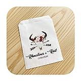 Nombre y fecha personalizados gracias a la boda Popcorn Candy Aparador de galletas, postres para tratar las bolsas personalizadas Bridal Shower Party Faveurs-White6-8 x 15 cm 30 unidades