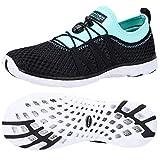ALEADER Womens Aqua Water Shoes, Summer Tennis Walking Sneakers Black/Cyan/Blue 8.5 B(M) US
