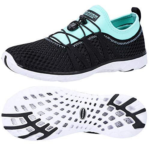 ALEADER Womens Aqua Water Shoes, Summer Tennis Walking Sneakers Black/Cyan/Blue 10 B(M) US