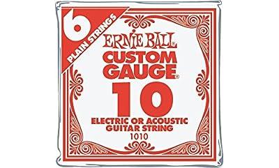 Ernie Ball Nickel Plain Single Guitar String .010 6-Pack