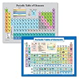 """2 Pack - Periodic Table of the Elements Poster [Grey] + Periodic Table of the Elements Poster for Kids [Illustrated] (LAMINATED, 18"""" x 24"""")"""