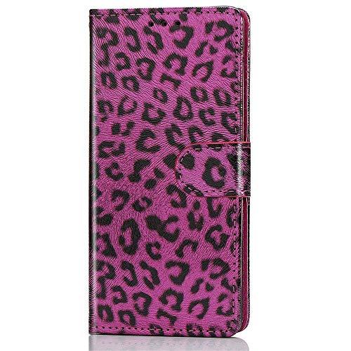 Luckyandery - Funda tipo cartera para iPhone XS (piel, tarjetero), color rojo rosa