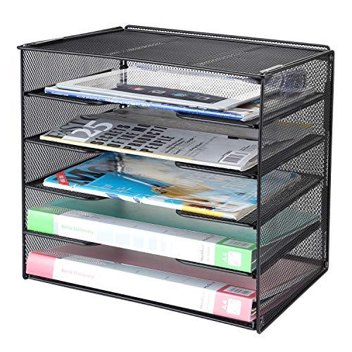 Samstar Briefablage aus Metall, Dokumentenablage Organizer Papierablage Schreibtischablage für A4 Dokument,Schwarz …