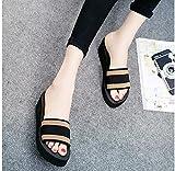zuecos sanitarios mujer originales,Wedge de verano femenino con zapatillas, 2021 Las nuevas mujeres nuevas sin fondo, hombres y mujeres son adecuados para zapatillas de punta abierta, sandalias exter